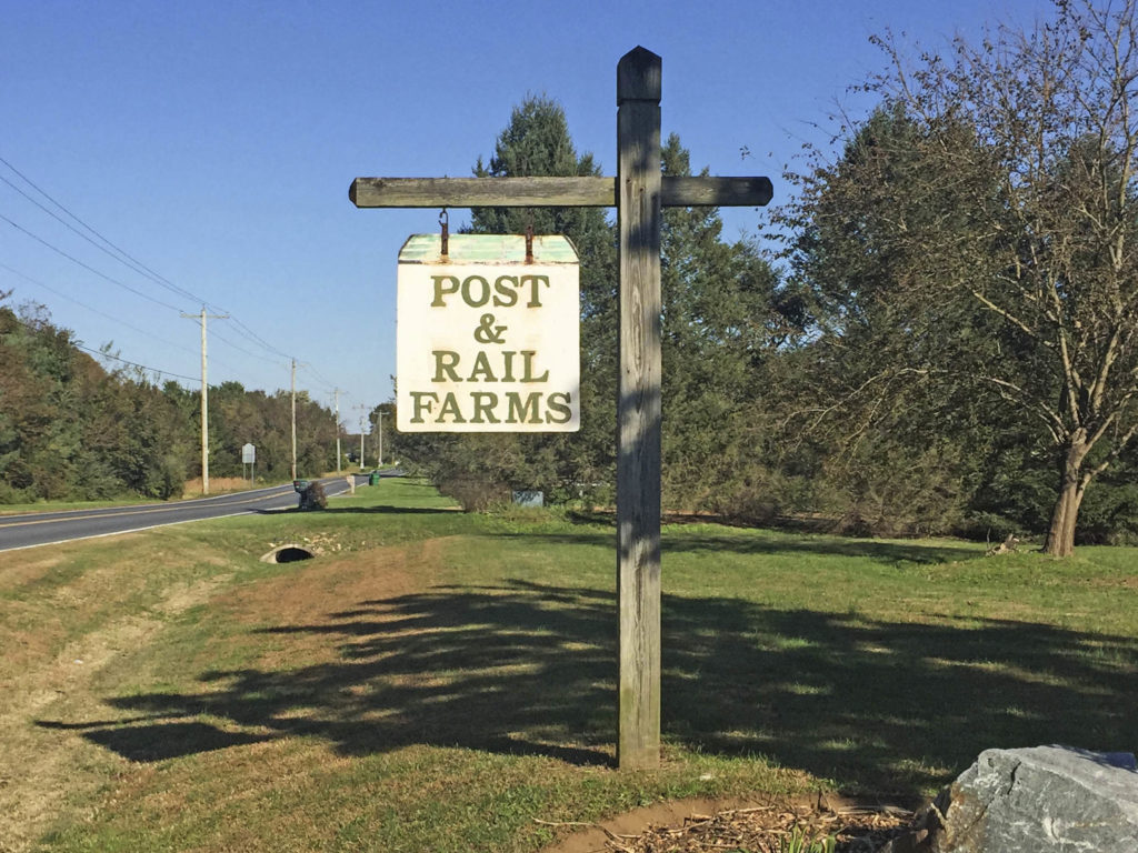 Post and Rail Farms Entry Sign
